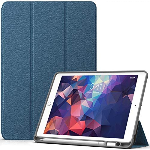 YOUMAKER iPad 8th Generation Case for iPad 7th & 8th with Pencil Holder Protective Cover Slim Heavy Duty Shockproof Cases with Tri-Fold Stand Compatible with iPad 10.2 inch- Blue
