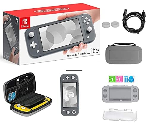Newest Nintendo Switch Lite, Gray Game Console, 5.5″ 1280×720 Touchscreen Display, Built-in Control Pad, 802.11ac WiFi, Bluetooth, Speakers, 3.5mm Audio Jack, with TSBEAU 6-in-1 Carrying Case Bundle