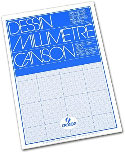 Canson A4 90 GSM Short Side Glued Pad Blue Print Millimetre Drawing Paper (Pack of 50 Sheets)