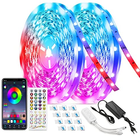 LED Strip Lights Music to Sync 65.6ft, TASMOR Ultra-Long Bluetooth RGB LED Light Strip for Bedroom App Controlled Color Changing Lights with IR Remote 5050 LED Rope Light
