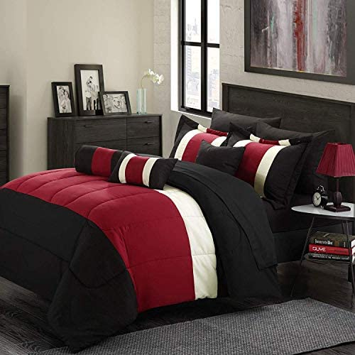 Empire Home 8-Piece Oversized Red & Black Comforter Set Bedding with Sheet Set (Full Size)