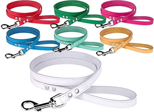 BRONZEDOG Leather Dog Leash 4ft, Heavy Duty Training Leather Dog Lead Puppy Leash Small Medium Large White Pink Red Blue Green Yellow Turquoise
