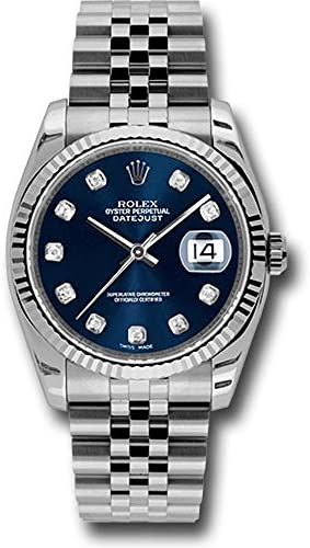 Rolex Oyster Perpetual Datejust 36mm Stainless Steel Case, 18K White Gold Fluted Bezel, Blue Dial, Diamond Hour Markers and A Jubilee Bracelet.