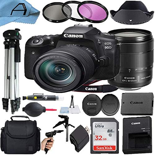Canon EOS 90D DSLR Camera 32.5MP Sensor with EF-S 18-135mm Lens + SanDisk 32GB Memory Card + Case + Tripod + 3 Pack Filters + A-Cell Accessory Bundle (Black)