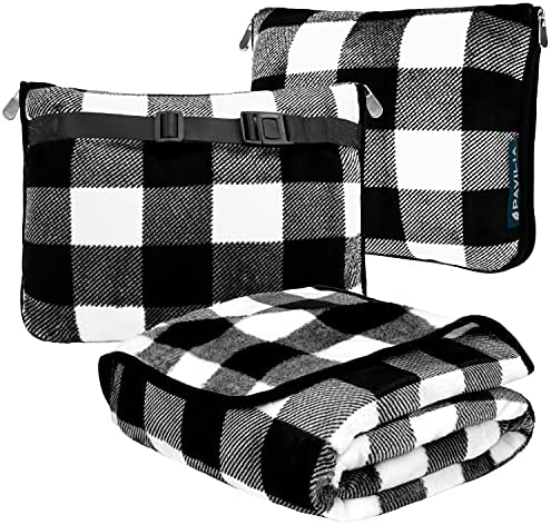 PAVILIA Travel Blanket and Pillow, Dual Zippers, Clip On Strap |Warm Soft Fleece 2-IN-1 Combo Blanket Airplane, Camping, Car |Large Compact Blanket Set, Luggage Backpack Strap, 60 x 43 (Checker White)