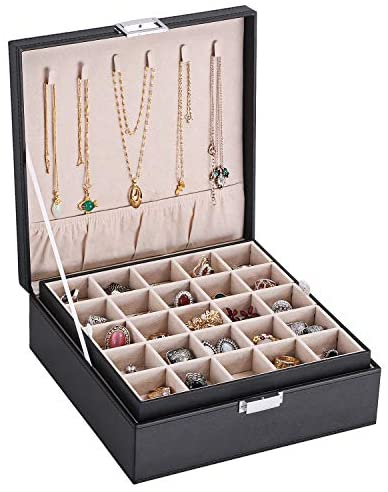 BEWISHOME Earring Organizer Holder for Cufflinks, Rings, Pendants, Chain – 50 Slots Case, 6 Necklace Hook, 2 Stackable Trays – Elegant Jewelry Storage Box for Girls Women, Black Faux Leather SSH11B