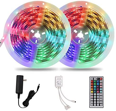 Waterproof 32.8ft 10m Long LED Strip Lights, Flexible Color Changing 5050 RGB 300 LEDs Light Strips Kit with Remote Controller for Outdoor & Indoor DIY Decoration