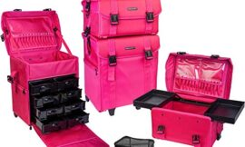 SHANY Soft Makeup Artist Rolling Trolley Cosmetic Case with Free Set of Mesh Bags, Summer Orchid