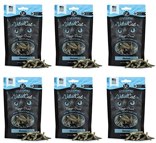 Vital Cat 6 Pack Freeze-Dried Minnows Grain Free Limited Ingredient Cat Treats – 0.5 Ounce Each Bag