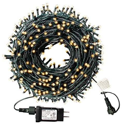 XTF2015 105ft 300 LED Christmas String Lights, End-to-End Plug 8 Modes Christmas Lights – UL Certified – Outdoor Indoor Fairy Lights Christmas Tree, Patio, Garden, Party, Wedding, Holiday (Warm White)