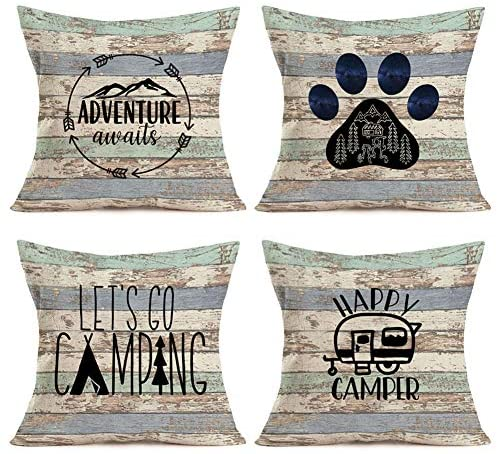 Gulidi Happy Camper Pillow Covers 18×18 Inch Set of 4 Camp Tent with Mountain Forest Camping Adventure Awaits Vintage Throw Pillow Case Decorative Cushion Cover with Wood Grain for RV Car Sofa
