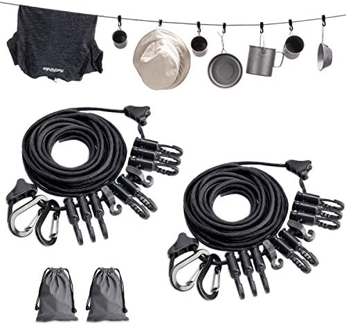 TOBWOLF Outdoor Tent Camping Clothesline with Hooks & Carry Bag, Portable Camping Lanyard for Hanging Drying Clothes, Adjustable Windproof Travel Clothesline Hanging Rope for Storage Hangers