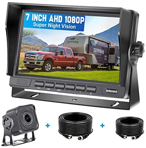 """DoHonest V22 AHD 1080P RV Backup Camera Kit 7"""" LCD Monitor Driving High-Speed Rear View Observation Plug and Play System for Trailer,Truck,Fifth Wheel Super Night Vision Long-Lasting Metal Material"""
