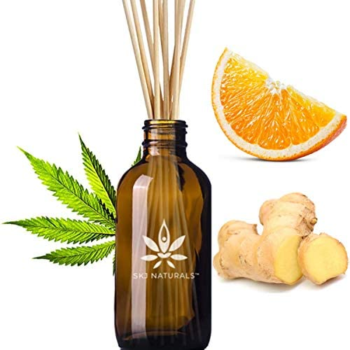 Energizing Hemp Orange Ginger Aromatherapy Reed Diffuser Set | 100% Pure Essential Oils | Home Fragrance | 10 Reed Diffuser Sticks and 4 oz Bottle | Hand Made in The USA