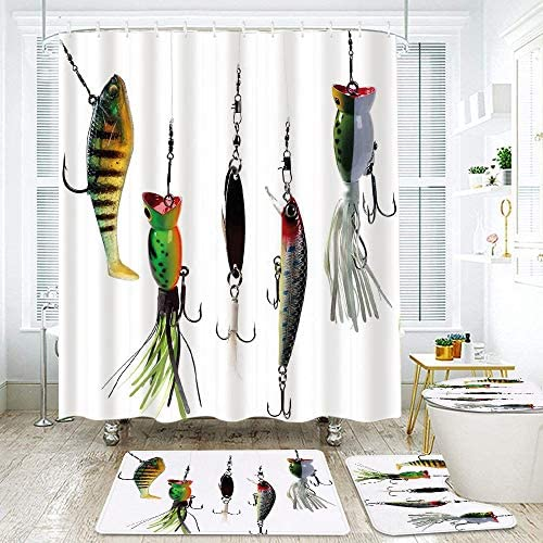 KGSPK Shower Curtain Sets Non-Slip Rug,Toilet Lid Cover and Bath Mat,Various Type of Fishing Baits Hobby Leisure Sports Hooks Catch Elements,Waterproof Bathroom Decorations Bath Curtains