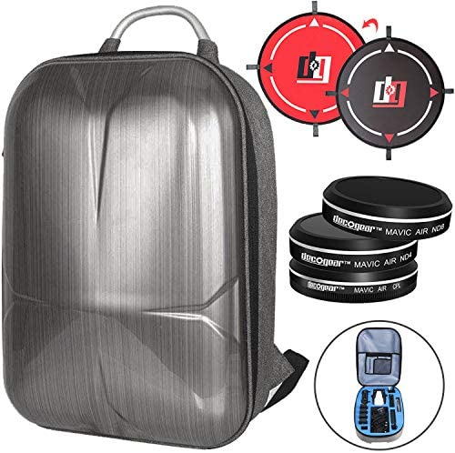 Deco Gear DJI Mavic Air Accessory Bundle- EVA-Protected Hardshell Travel Backpack with 3Pc. Filter Kit (ND4 + ND8 + CPL) and Landing Pad