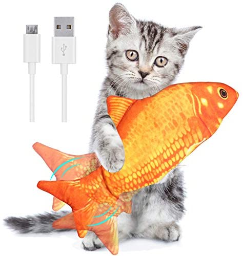Floppy Fish Cat Toy, Electric Moving Automated Realistic Flopping Fish Interactive Toy USB Rechargeable and Washable for Indoor Cats