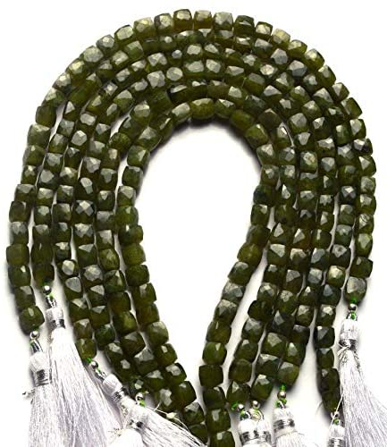 GEMZ 10 inch Strand of Natural Vesuvianite or vasonite Box Shape Faceted Cut Green Color briollete Beads for DIY Jewelry Making- Earring Necklace Bracelet.