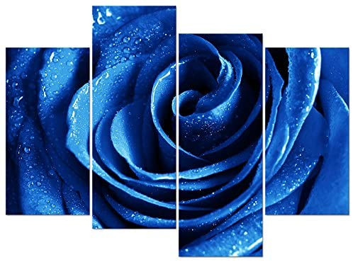 Wieco Art Blue Rose with Dew Canvas Prints Wall Art Abstract Romantic Flower Pictures Paintings for Living Room Bedroom Decorations Wall Decor Large 4 Piece Modern Stretched and Framed Giclee Artwork