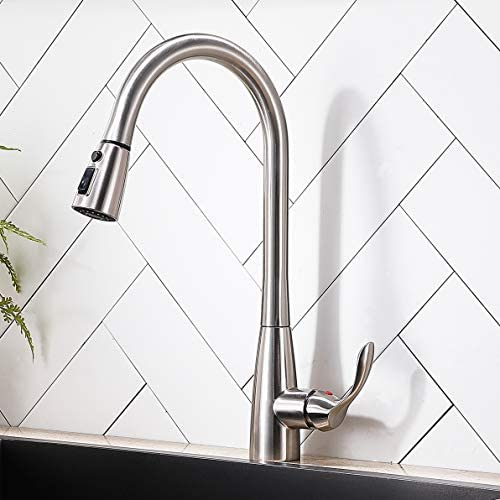 Commercial Brushed Nickel Kitchen Sink Faucet, Kitchen Faucets With Pull out Sprayer, Modern High Arc Stainless Steel Single Hole Single Handle Pull down Faucet For Kitchen Sinks Restaurant Laundry