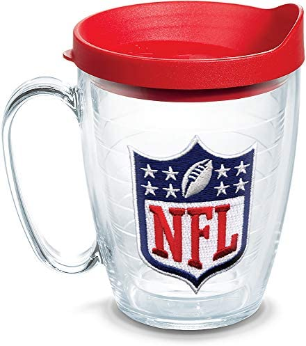 Tervis NFL National Football League Logo Tumbler with Emblem and Red Lid 16oz Mug, Clear