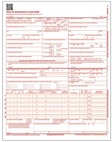ComplyRight CMS 1500 Healthcare Billing Form – 02/12, Laser, 2500-Count (CMS12LC)