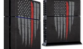 MightySkins Skin Compatible with Sony PS4 Console – Thin Red Line | Protective, Durable, and Unique Vinyl Decal wrap Cover | Easy to Apply, Remove, and Change Styles | Made in The USA