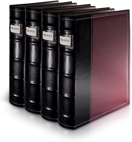 Bellagio-Italia Burgandy Leather Disc Storage Binder Perfect for CDs, DVDs, Blu-Rays, and Video Games – 4 Pack