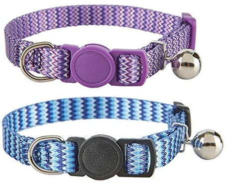 2 Pack Cat Collar with Bell Stripe Pattern ,Adjustable Safety Breakaway Collars for Cats