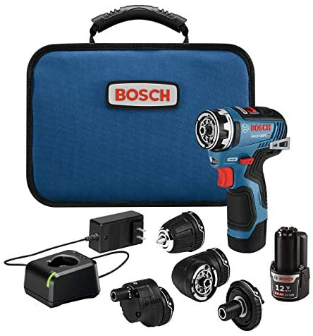 Bosch GSR12V-300FCB22 12V Max EC Brushless Flexiclick 5-In-1 Drill/Driver System with (2) 2.0 Ah Batteries (Renewed)