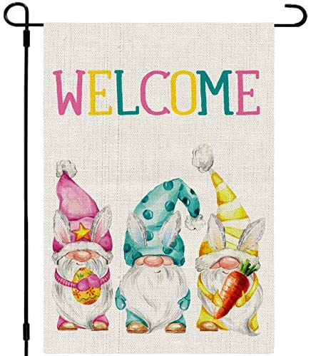 Whaline Easter Garden Flag Welcome Gnomes Rabbit Bunny Yard Flag Double-Sided Easter Burlap Outdoor Flag Spring Holiday Garden Flag for Lawn Patio Farmhouse, 12.5 x 18 Inch