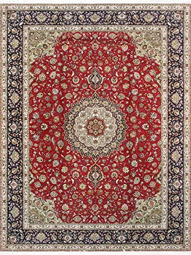 "Pasargad Carpets Tabriz Collection Hand Knotted Silk & Wool Area Rug, 9'10"" x 13′ 2″"