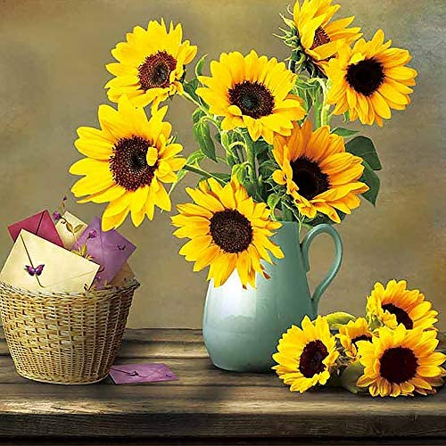 Udefineit Sunflower 5D Diamond Paint by Number, Mosaic Making Rhinestone Embroidery Cross Stitch Arts Craft, Full Drill Square Diamonds 5D DIY Painting for Home Wall Decor, 12×12″/30x30cm