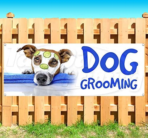 Dog Grooming 13 oz Banner | Non-Fabric | Heavy-Duty Vinyl Single-Sided with Metal Grommets