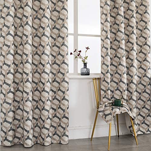 SNLARFOX Blackout Curtains Polyester Curtain Textured Lattice Moroccan Tile Print Kitchen Window Treatment Set for Living Room Geometry 52″ x 63″ inch Set of 2 Panels