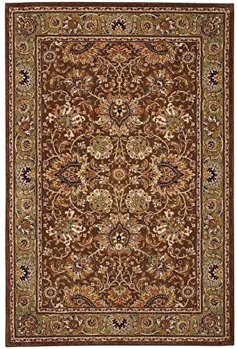 """Overstock Dark Brown Blue Traditional Border 5×8 Area Rug 5'3″x7'10"""" – 5′ x 8′"""
