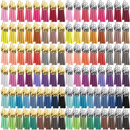 Duufin 200 Pieces Keychain Tassels Bulk Leather Tassel Colored Tassel Pendants for DIY Keychain and Craft, 50 Colors (Gold & Silver Cap)