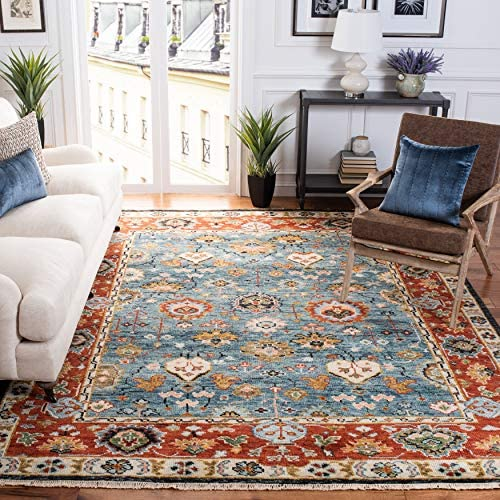 Safavieh Samarkand Collection SRK117M Hand-Knotted Traditional Oriental Premium Wool Area Rug, 8′ x 10′, Blue / Red
