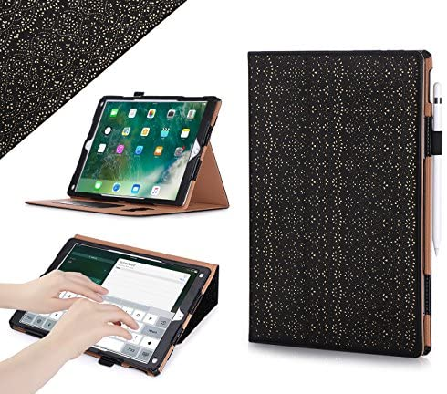 iPad Pro 12.9 (Compatible with 2017 and 2015 Model) Case, WWW [Luxury Laser Flower] Premium PU Leather Case Protective Cover with Auto Wake/Sleep Feature for iPad Pro 12.9 (Both 2017 and 2015) Black