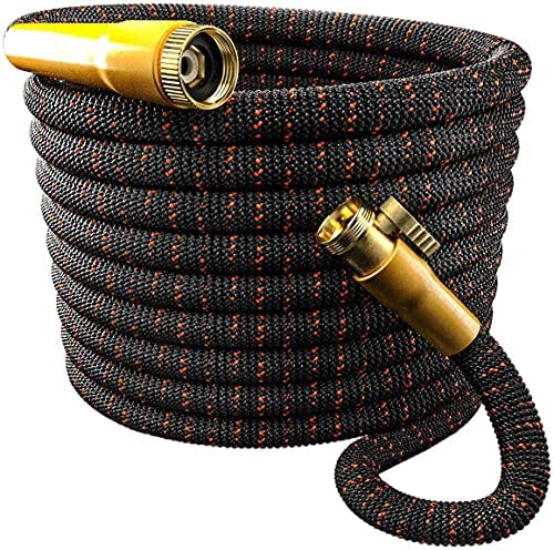 TBI Pro Garden Hose Expandable and Flexible – Super Durable 3750D Fabric | 4-Layers Flex Strong Latex | No-Rust Brass Connectors with Pocket Protectors – Water Hoses for Gardening (50FT Only)