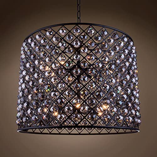 Crystal Grid 12 Light 35.5″ Grey Iron Smoke Crystal Chandelier Hanging Ceiling Light (Led Bulbs Included)
