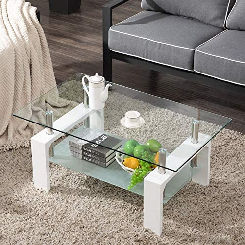 Living Room Rectangle Glass Coffee Table, Modern Living Room Table with Lower Shelf, Clear Tempered Glass Top with White Color Wooden Legs,Living Room Furniture,Waiting Area Table