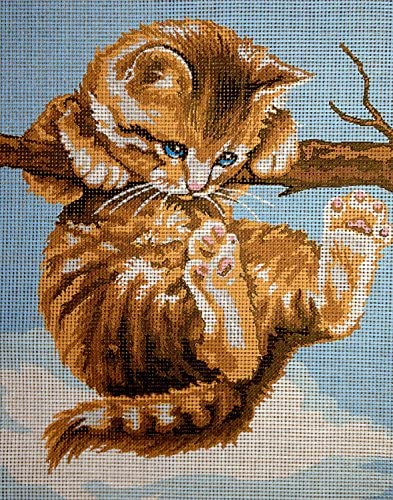 hudema's Needlepoint Kit Cat on The Branch 7.9″x9.8″ 20x25cm Printed Canvas cod.429