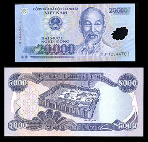 Nice1159 5,000 NEW IRAQI DINAR Banknote + Receive A FREE 20,000 Viet Nam Dong – (Only 1 Set Left) – Rare for collectors