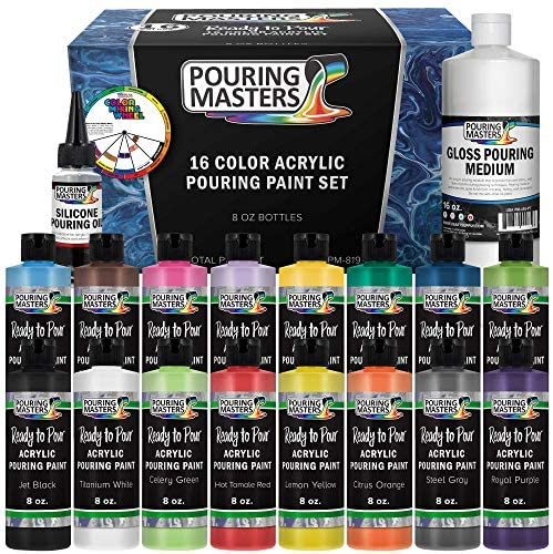 Pouring Masters 16-Color Ready to Pour Acrylic Pouring Paint Set with Silicone Oil & Gloss Medium – Premium Pre-Mixed High Flow 8-Ounce Bottles – For Canvas, Wood, Paper, Crafts, Tile