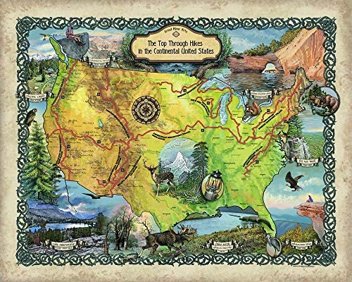 Great River Arts Top Thru Hikes Historic Map Reproduction Artwork Wall Art Print Vintage, 36×45 Inches Fine Print