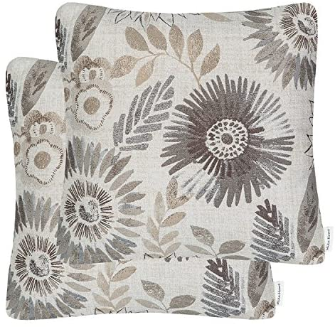 Mika Home Pack of 2 Decorative Throw Pillows Cases Cushion Cover for Sofa Couch Bed,Sunflower Pattern,20×20 Inches,Grey Cream