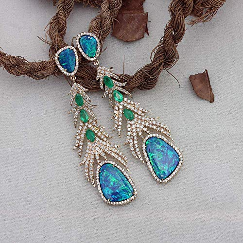 Solid 14k Yellow Gold Natural 2.60 Ct. Diamond Doublet Opal Emerald Gemstones Designer Feather Dangle Earrings Wedding Fine Jewelry