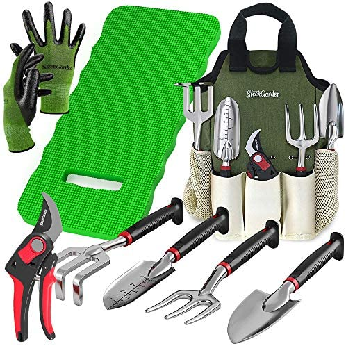 8-Piece Gardening Tool Set-Includes EZ-Cut Pruners, Lightweight Aluminum Hand Tools with Soft Rubber Handles- Trowel, Bamboo Gloves, Garden Tote, High Density Comfort Knee Pad Gardening Gifts Tool Set