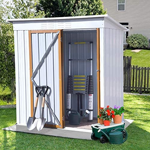 Outdoor Storage Shed,Garden Metal Tool House with Sloped Metal Roof,Metal Shed for Patio Lawn Backyard